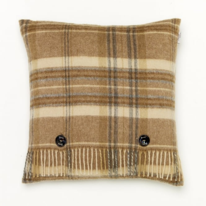 Bronte By Moon Heather Check Lambswool Cushion - Natural
