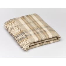 Heather Check Lambswool Throw - Natural Beige
