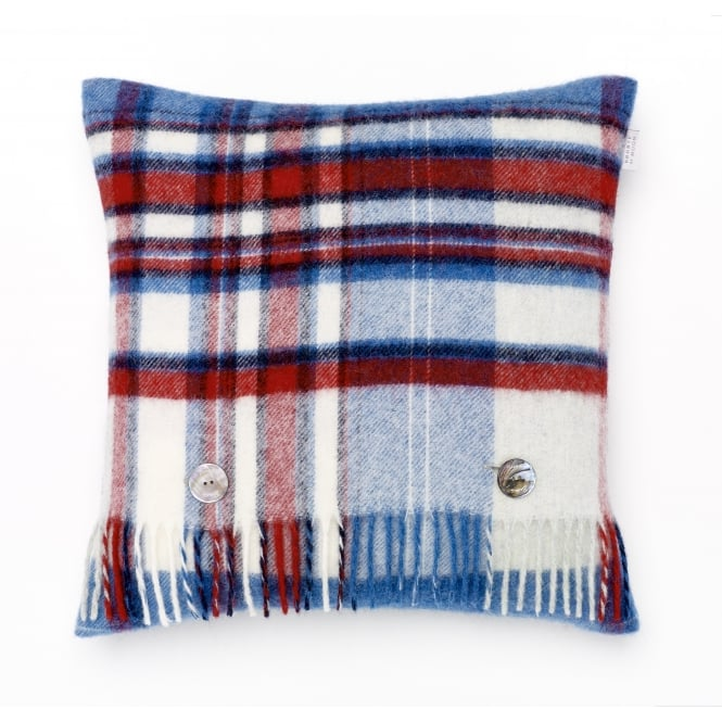 Bronte By Moon Lisbon Check Pure New Wool Cushion - Blue/Red