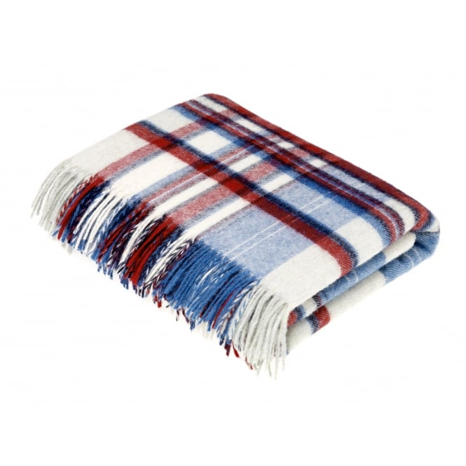 Bronte By Moon Lisbon Check Pure New Wool Throw - Blue/Red
