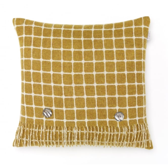 Bronte By Moon Luxury Athens Check Merino Lambswool Cushion - Gold