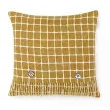 Luxury Athens Check Merino Lambswool Cushion - Gold