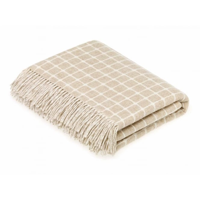 Bronte By Moon Luxury Athens Check Merino Lambswool Throw - Beige