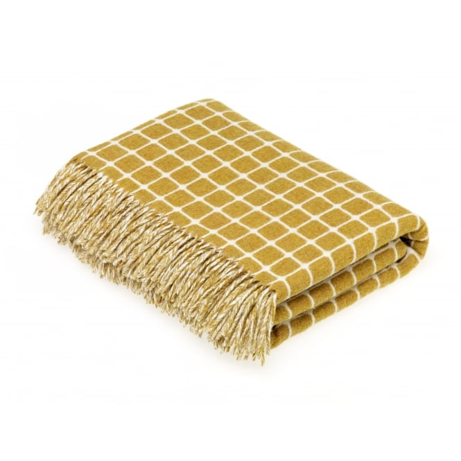 Bronte By Moon Luxury Athens Check Merino Lambswool Throw - Gold