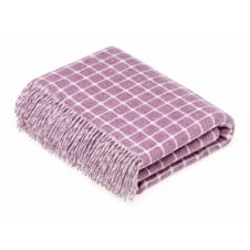 Luxury Athens Check Merino Lambswool Throw - Lilac