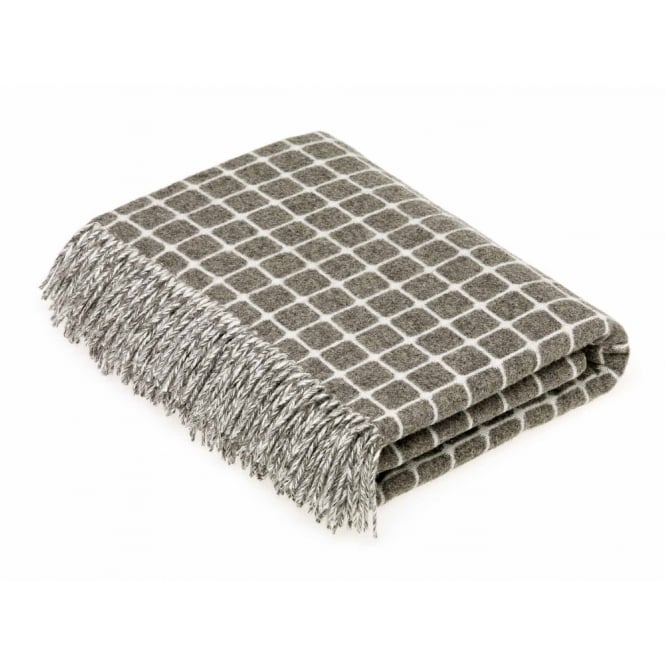 Bronte By Moon Luxury Athens Check Merino Lambswool Throw - Slate