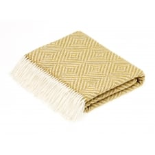Luxury Lambswool-Lurex Vienna Diamond Herringbone Throw - Gold