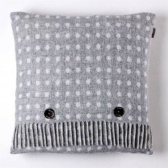 Luxury Lambswool Spot Cushion - Grey