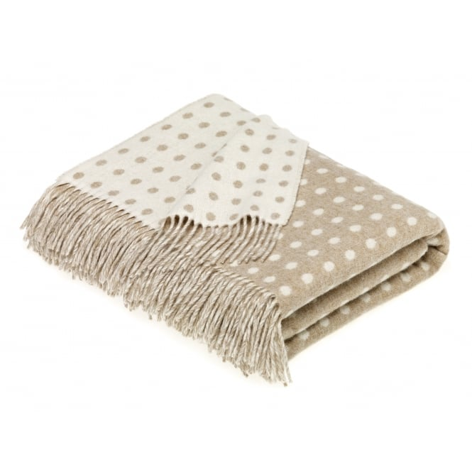 Bronte By Moon Luxury Lambswool Spot Throw - Natural