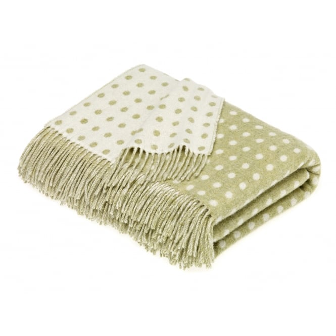 Bronte By Moon Luxury Lambswool Spot Throw - Sage