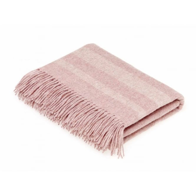 Bronte By Moon Luxury Merino Lambswool & Angora Seville Stripe Throw - Coral