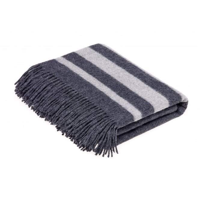 Bronte By Moon Luxury Merino Lambswool & Angora Seville Stripe Throw - Dark Grey