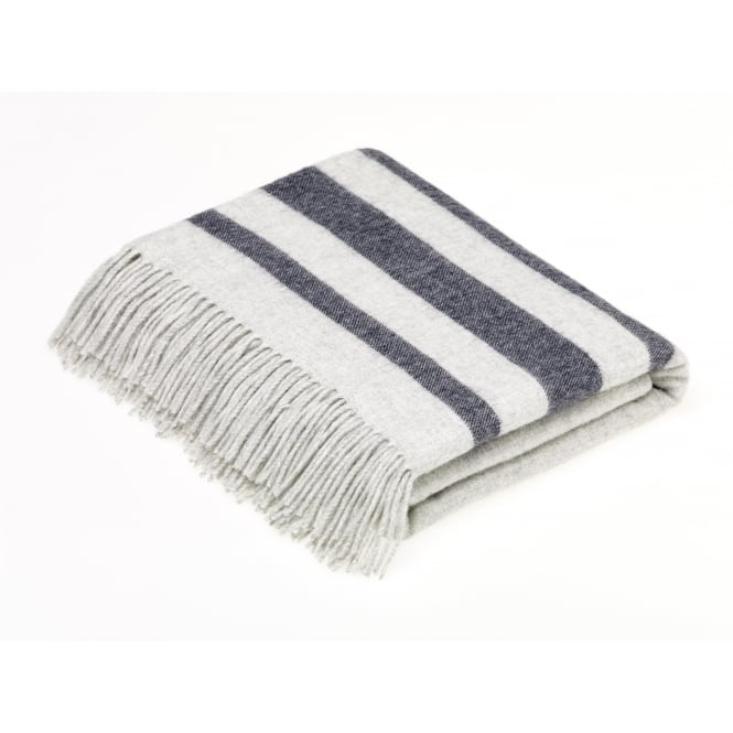 Bronte By Moon Luxury Merino Lambswool & Angora Seville Stripe Throw - Light Grey