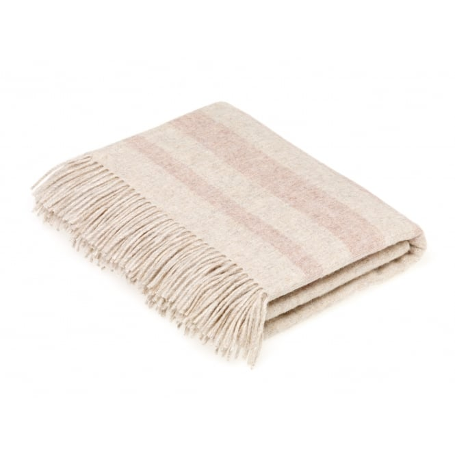 Bronte By Moon Luxury Merino Lambswool & Angora Seville Stripe Throw - Pale Pink