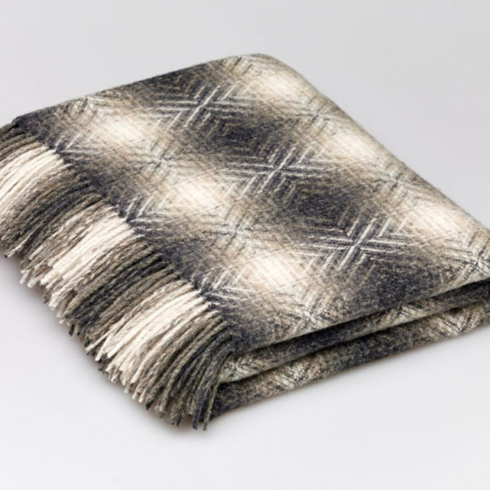 Buy Bronte Merino Lambswool Diamond Throw Natural Grey Black By Design
