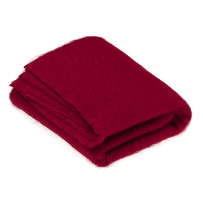 Bronte By Moon Luxury Mohair Throw - Berry Red