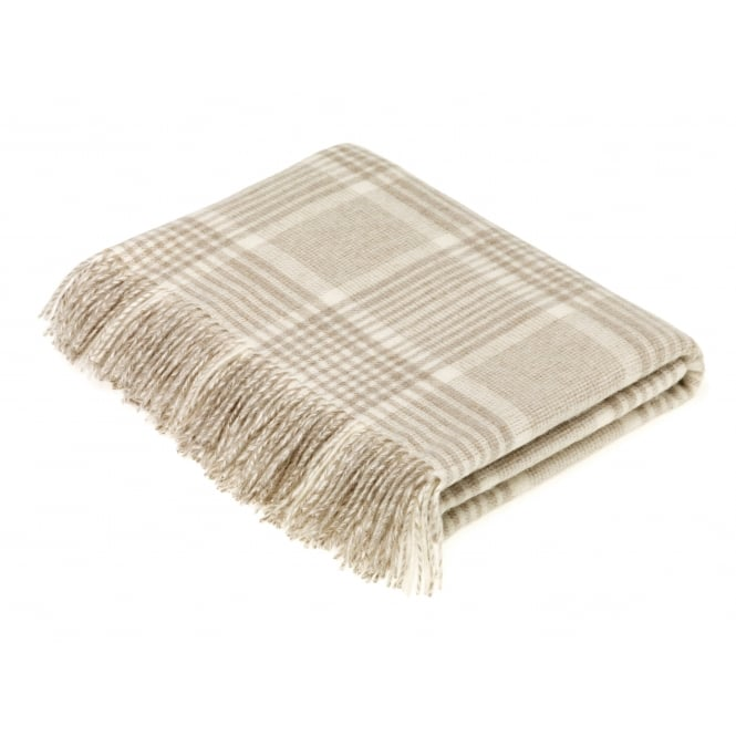 Bronte By Moon Luxury Prince of Wales Check Lambswool Throw - Beige