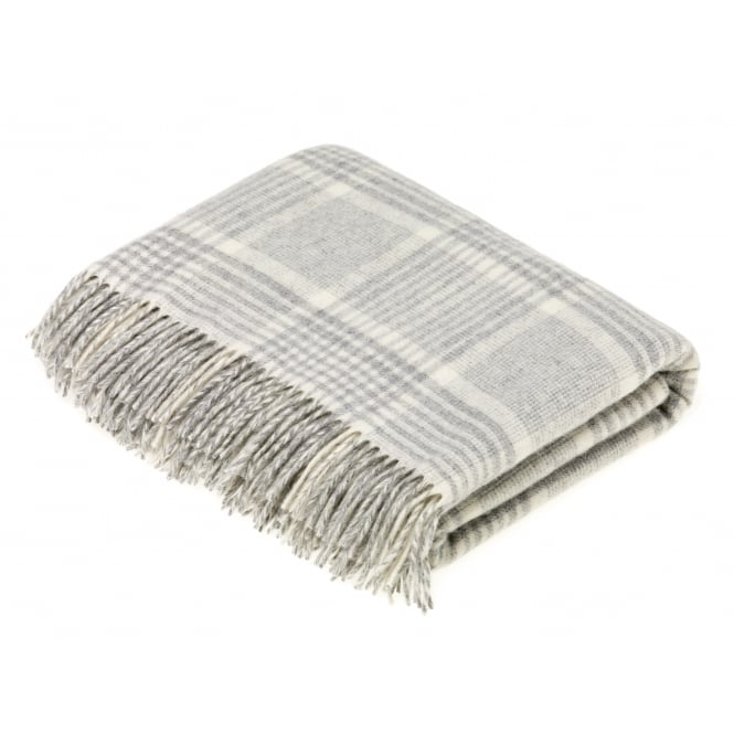 Bronte By Moon Luxury Prince of Wales Check Lambswool Throw - Grey
