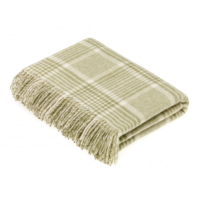 Bronte By Moon Luxury Prince of Wales Check Lambswool Throw - Sage
