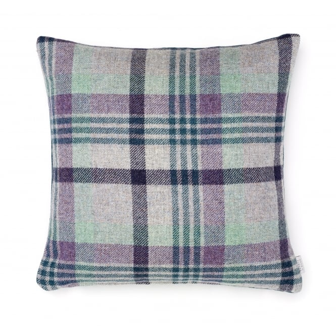 Bronte By Moon Melbourne Check Double Sided Pure New Wool Cushion - Heather 40cm x 40cm