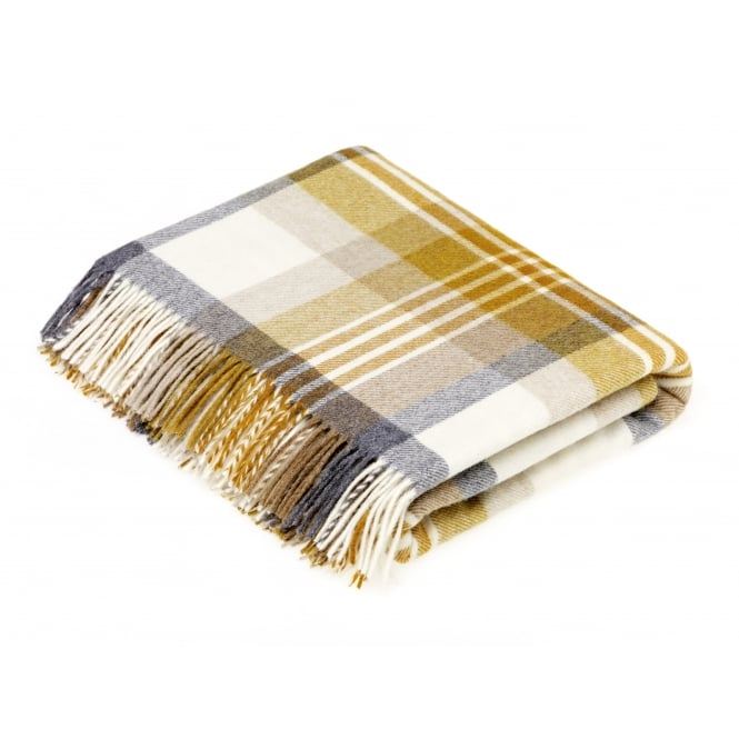 Bronte By Moon Melbourne Check Luxury Merino Lambswool Throw - Gold/Grey