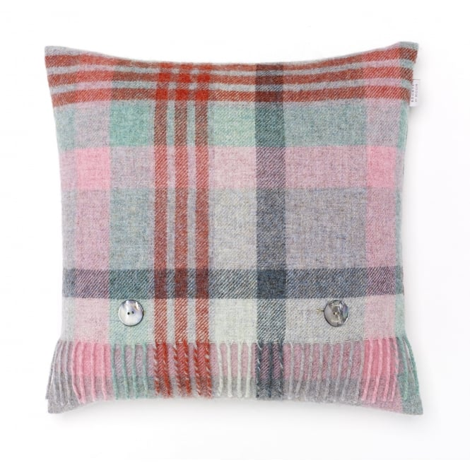 Bronte By Moon Melbourne Check Pure New Wool Cushion - Flamingo/Aqua