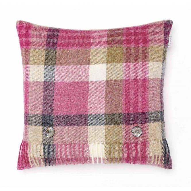 Bronte By Moon Melbourne Check Pure New Wool Cushion - Pink/Natural