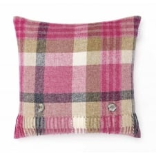 Melbourne Check Pure New Wool Cushion - Pink/Natural