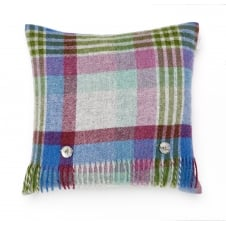 Melbourne Check Pure New Wool Cushion - Thistle