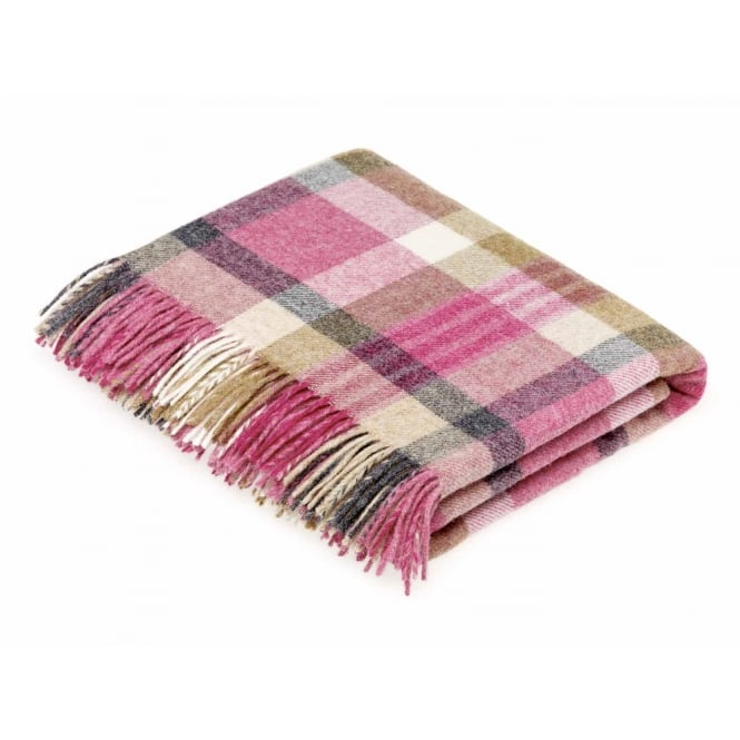 Bronte By Moon Melbourne Check Pure New Wool Throw - Pink/Natural