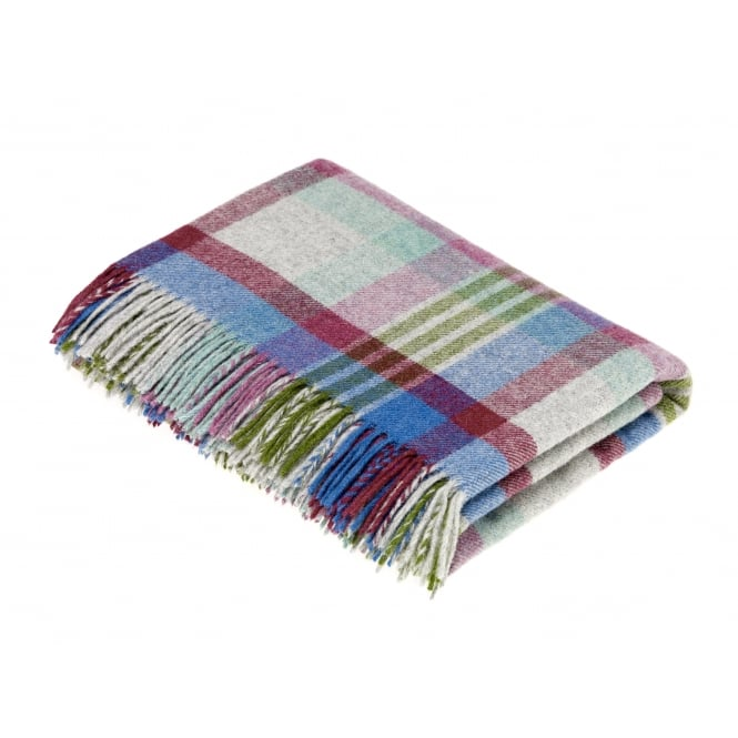 Bronte By Moon Melbourne Check Pure New Wool Throw - Thistle