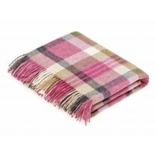 Melbourne Check Shetland Wool Throw - Pink/Natural