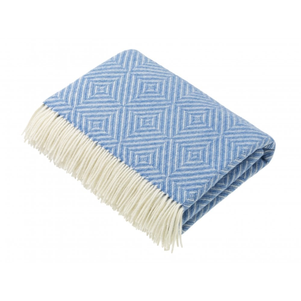 Buy Bronte Lambswool Diamond Throw Aqua Blue Black By Design