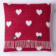 Merino Lambswool Hearts Cushion - Red/White