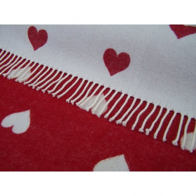 Bronte By Moon Merino Lambswool Hearts Throw - Red/White