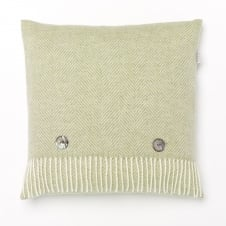 Merino Lambswool Herringbone Cushion - Sage