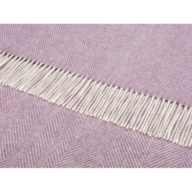 Bronte By Moon Merino Lambswool Herringbone Throw - Lilac