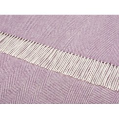 Merino Lambswool Herringbone Throw - Lilac
