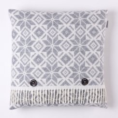 Merino Lambswool Snowflake Cushion - Grey/White