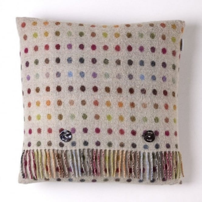 Bronte By Moon Multi Spot Check Lambswool Cushion - Beige