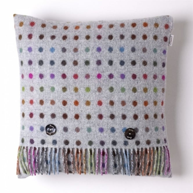 Bronte By Moon Multi Spot Check Lambswool Cushion - Grey
