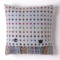 Multi Spot Check Lambswool Cushion - Grey
