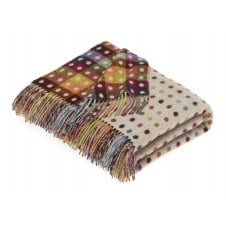 Multi Spot Check Lambswool Throw - Beige