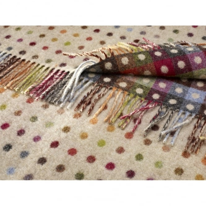 Bronte By Moon Multi Spot Check Lambswool Throw - Beige
