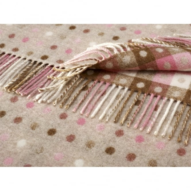 Bronte By Moon Multi Spot Check Lambswool Throw - Beige/Pastels