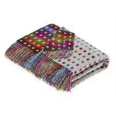 Multi Spot Check Lambswool Throw - Grey