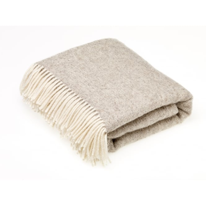 Bronte By Moon Natural Herringbone Throw - Beige