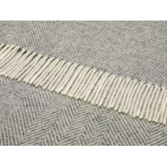 Natural Herringbone Throw - Grey