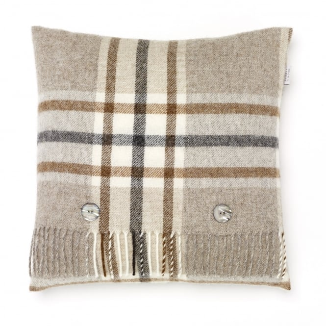 Bronte By Moon Naturally Bronte Pure New Wool Check Cushion - Arncliffe Beige