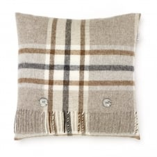 Naturally Bronte Pure New Wool Check Cushion - Arncliffe Beige